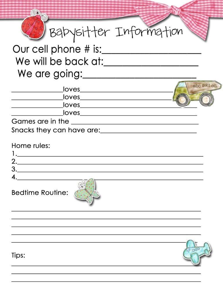 Free Printable Babysitter Information Sheet Template Pdf ...