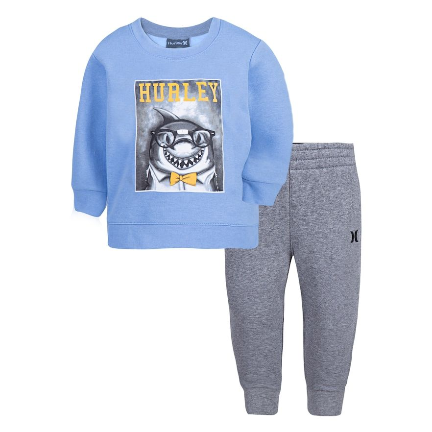 c88720fa2 Baby Boy Hurley Shark Sweatshirt & Pants Set, Size: 12 Months, Light Blue