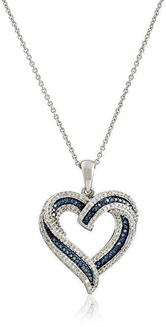Blue and White Diamond Heart Pendant Necklace (1/2 cttw)