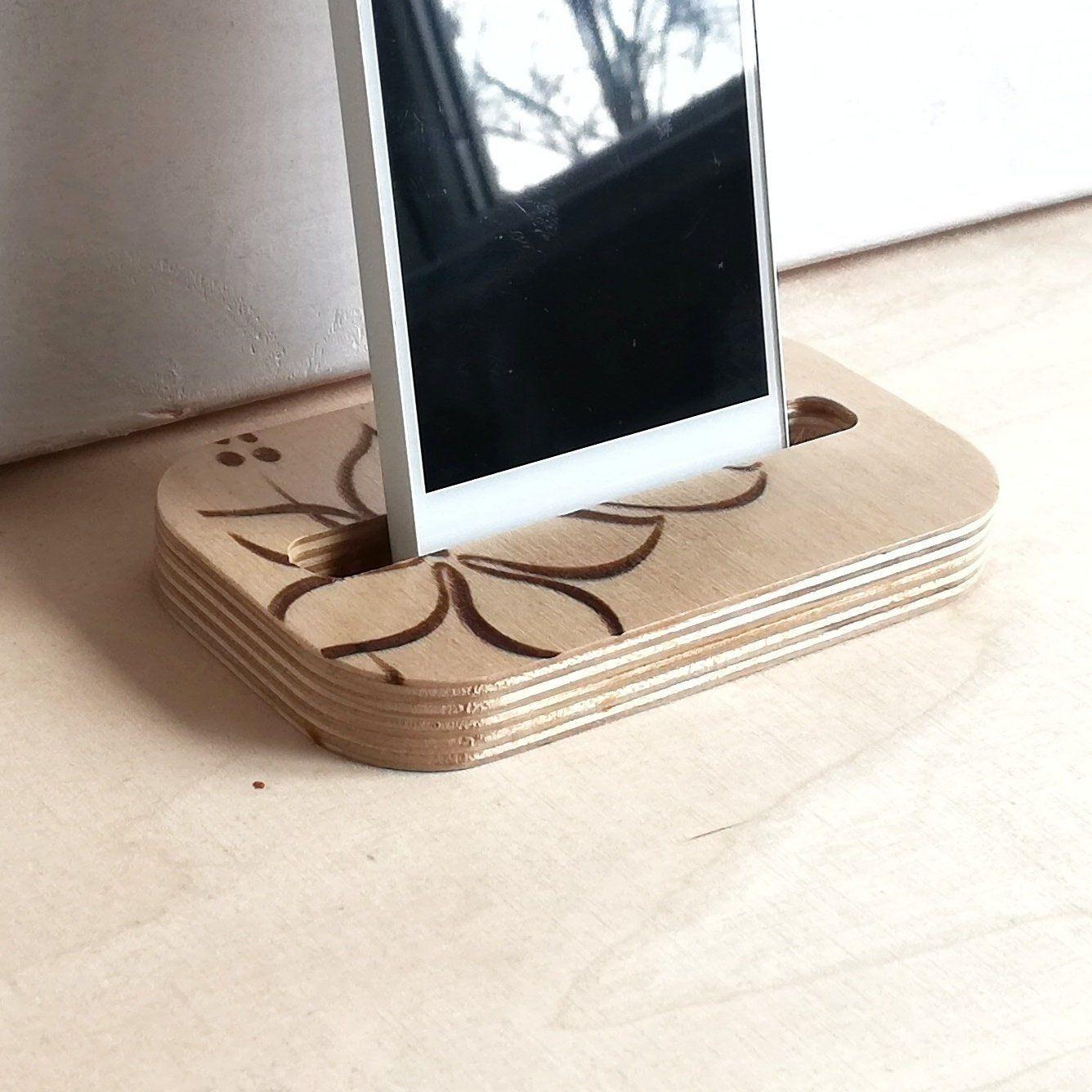 Wooden Multi Device Organizer Charging Station Dock Holder