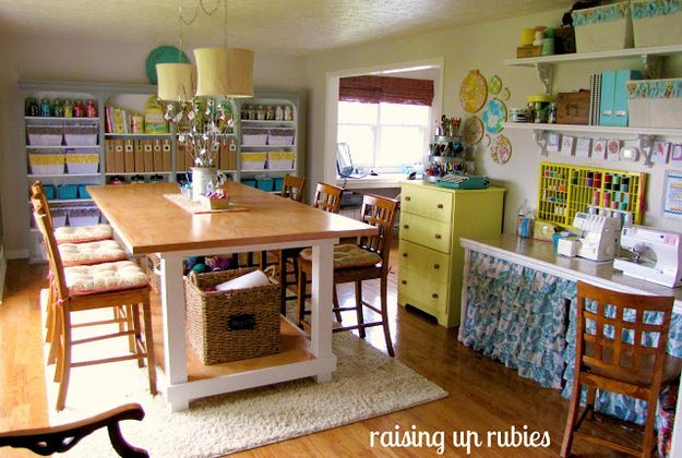 23 Craft Studios You Ll Be Totally Jealous Of Dream Craft Room Craft Room Sewing Room Organization Living room to sewing room