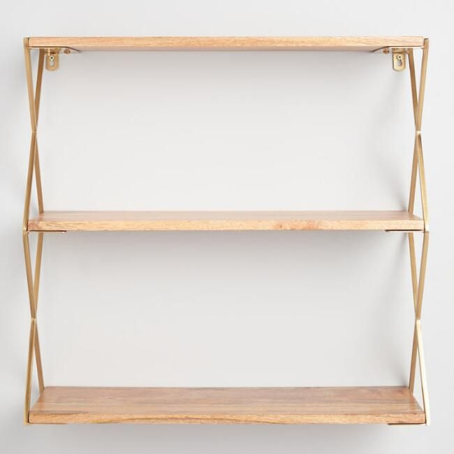 reputable site 8f3b7 9fc3d Natural Wood and Gold 3 Tier Wall Shelf - v2 | Studio Ideas ...
