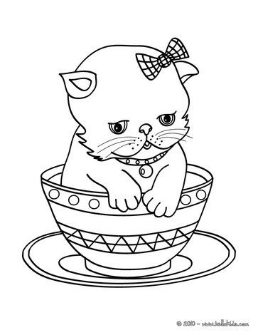 Beautiful Kitten In Cup Coloring Page For Kids Of All Ages Nice Cat Drawing For Kids More Animals Co Animal Coloring Pages Cat Coloring Page Kittens Coloring