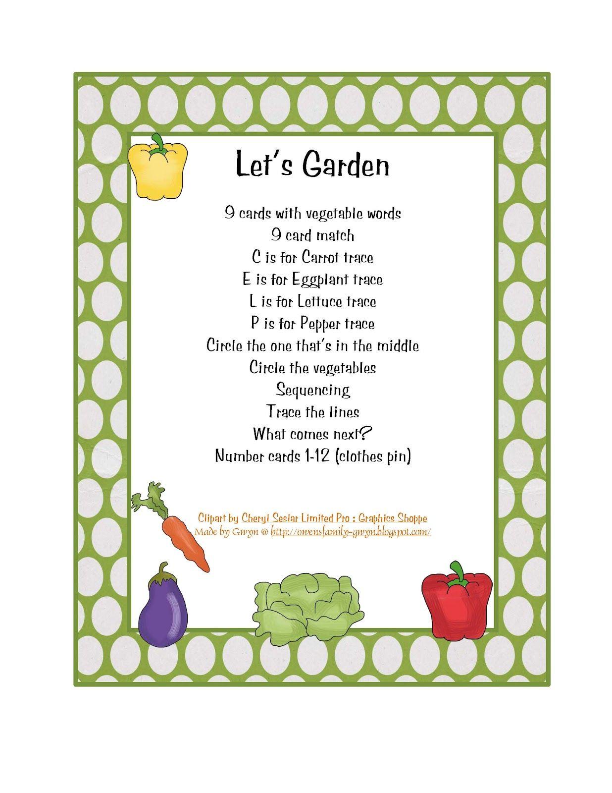 Garden Worksheet Activities