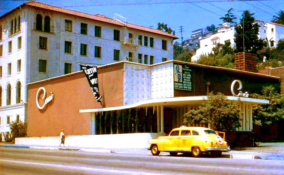 Color shot of Ciro's nightclub on the Sunset Strip, when Dean Martin and Jerry Lewis were playing there live, circa late 1940s.