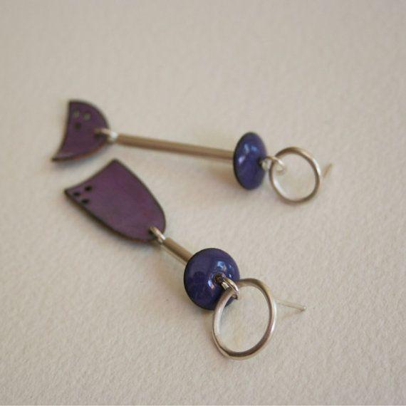 Picasso Enamel Earrings Study in Purple by metalchick on Etsy, $65.00