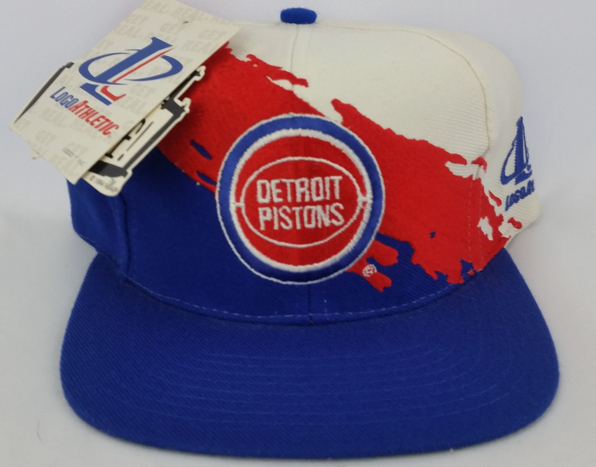 e2e50bb178af31 Detroit Pistons Vintage Snapback Logo Athletic Splash Hat NBA Cap Rare NWT