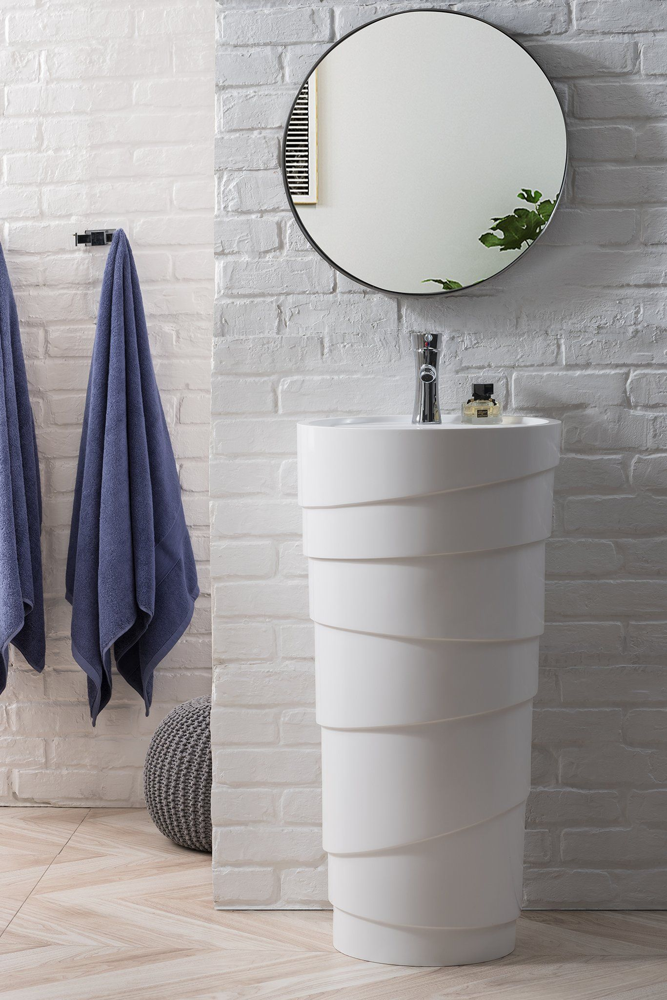 Quebec 17 5 Solid Surface Pedestal Sink Bright White With Images Pedestal Sink Small Bathroom Solid Surface