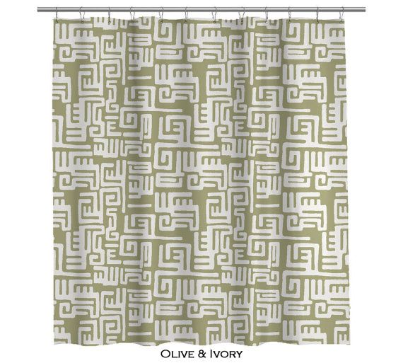 kuba cloth shower curtain in olive green 108 by anitavee on etsy rh pinterest com