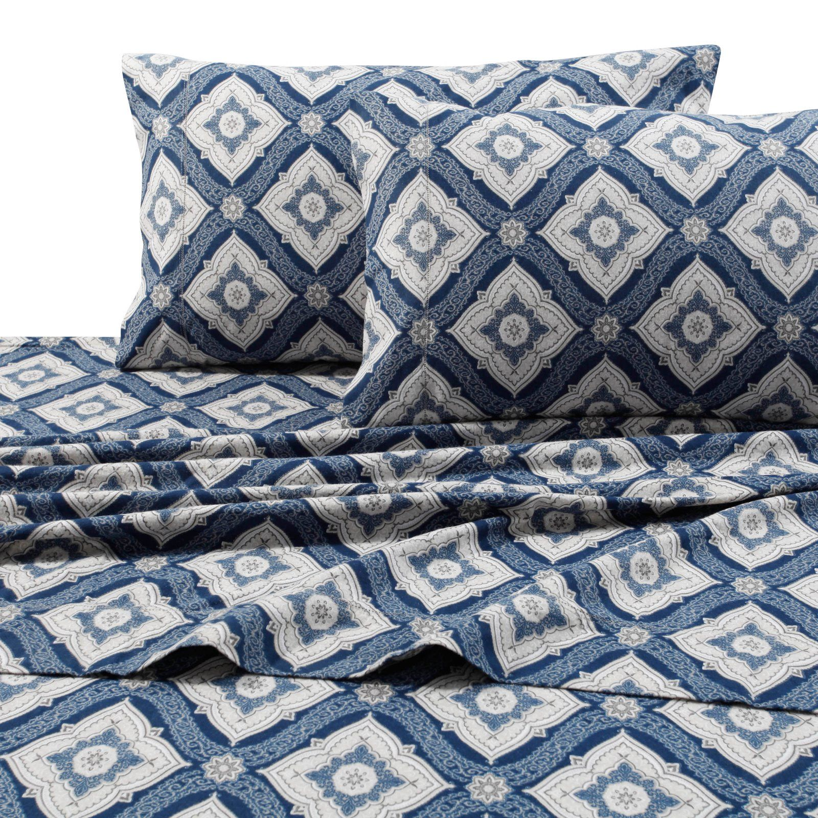 Printed Flannel 4 Piece Damask Sheet Set By Tribeca Living In 2020
