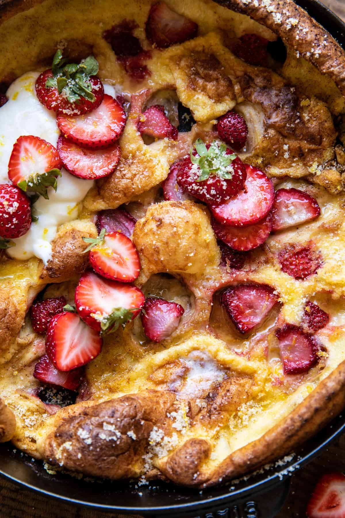 Lemon Strawberry Dutch Baby with Ricotta Cream. - Half ...