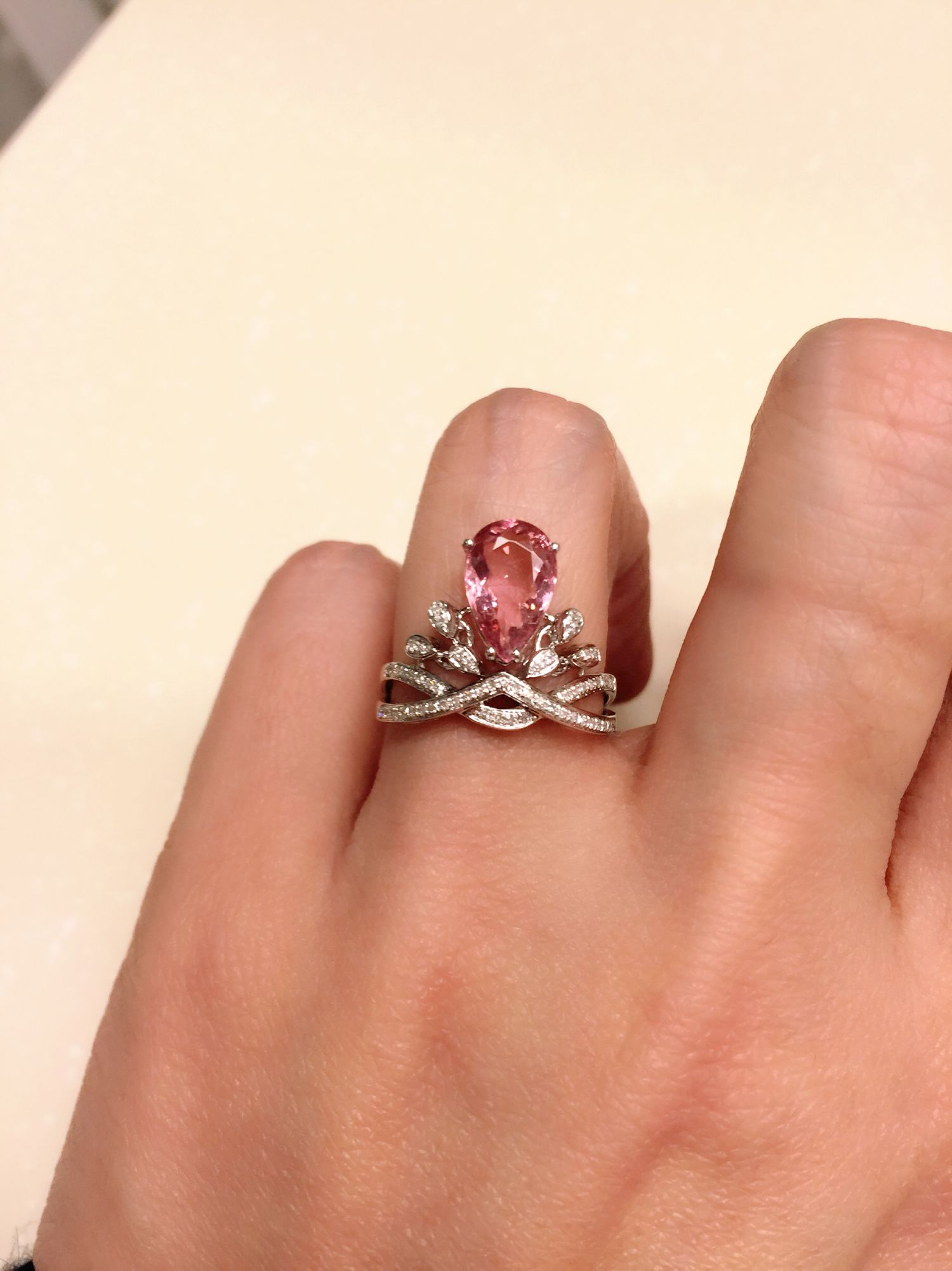 Lovely Pink tourmaline and diamond ring