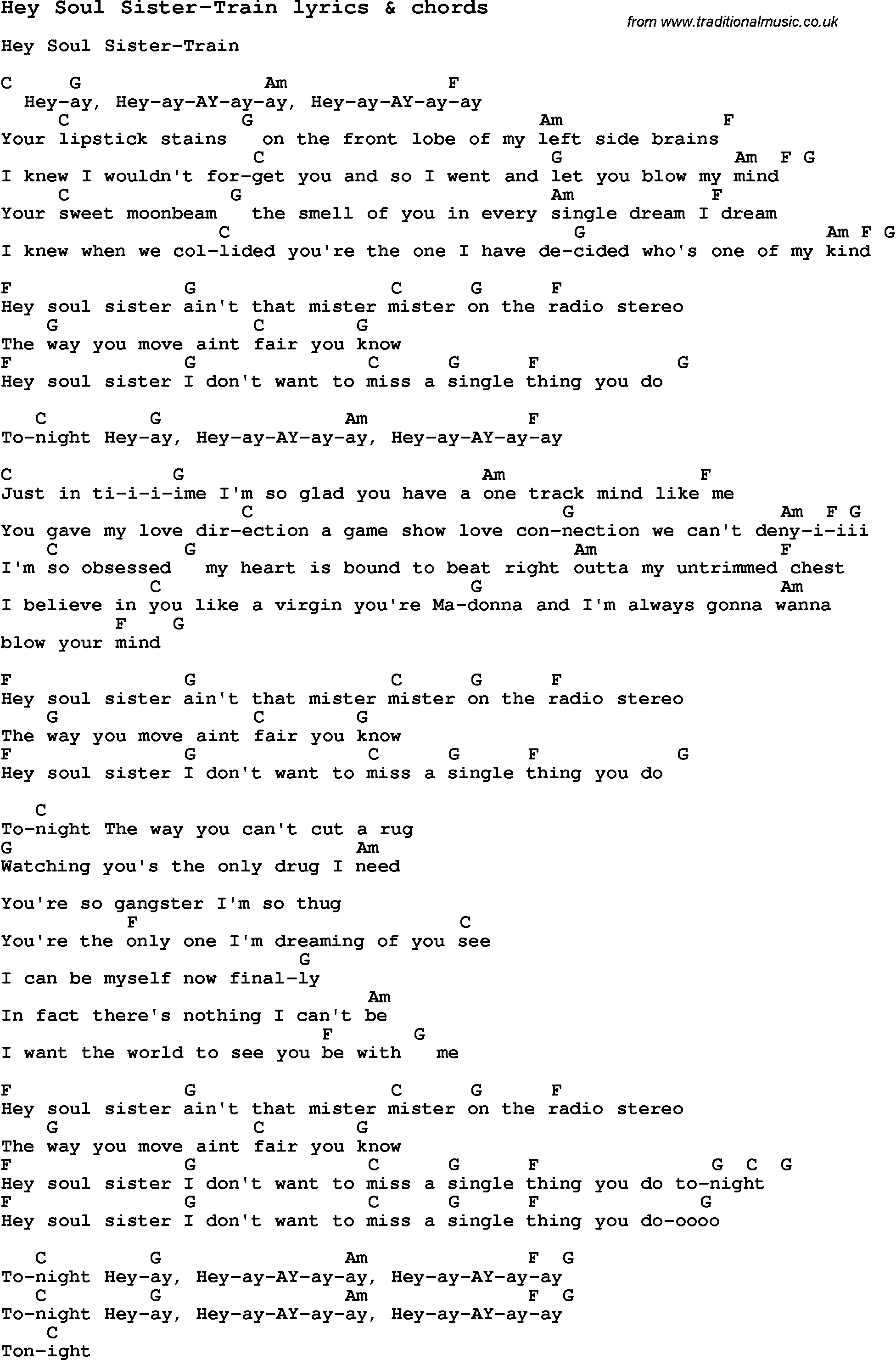 Love Song Lyrics For Hey Soul Sister Train With Chords For Ukulele