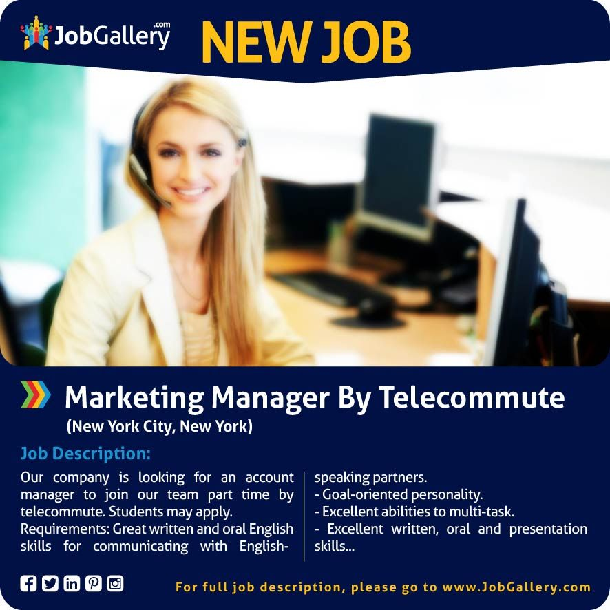 Marketing Manager By Telecommute Job Posting Marketing Manager Marketing Jobs