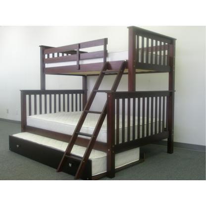 Bedz King Bunk Bed Twin Over Full Mission Style In Cappuccino With Twin Trundle 542 Contemporary Bunk Beds Bunk Beds Bunk Bed King