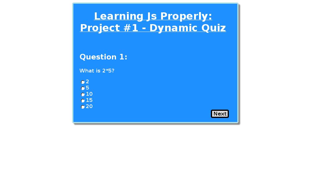 Dynamic Quiz Code Pen | JavaScrip JavaScript and More