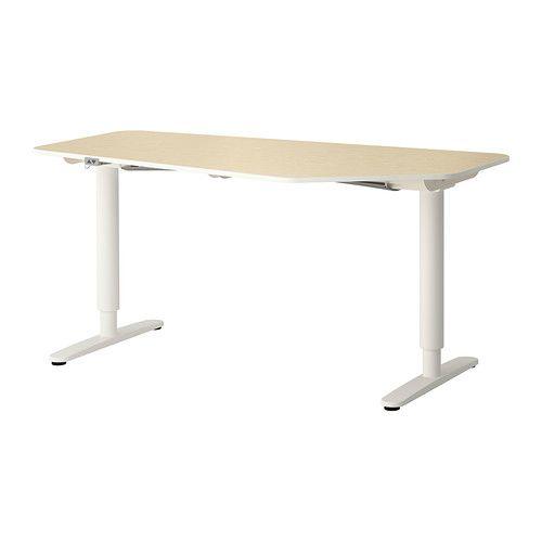 BEKANT 5-stranný písací stôl/stojan - brezová dyha/biela - IKEA