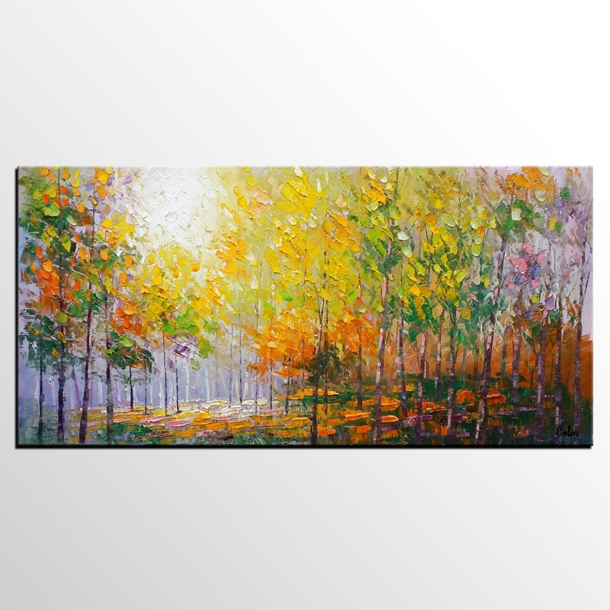 Living Room Wall Art, Landscape Painting, Oil Painting, Abstract ...