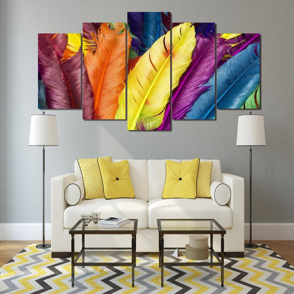 HD Printed colorful feathers 5 pieces Group Painting room decor ...