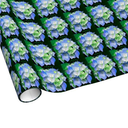 Wedding Attendants Gifts: Blue Hydrangea Gift Wrap - Floral Wrapping Paper