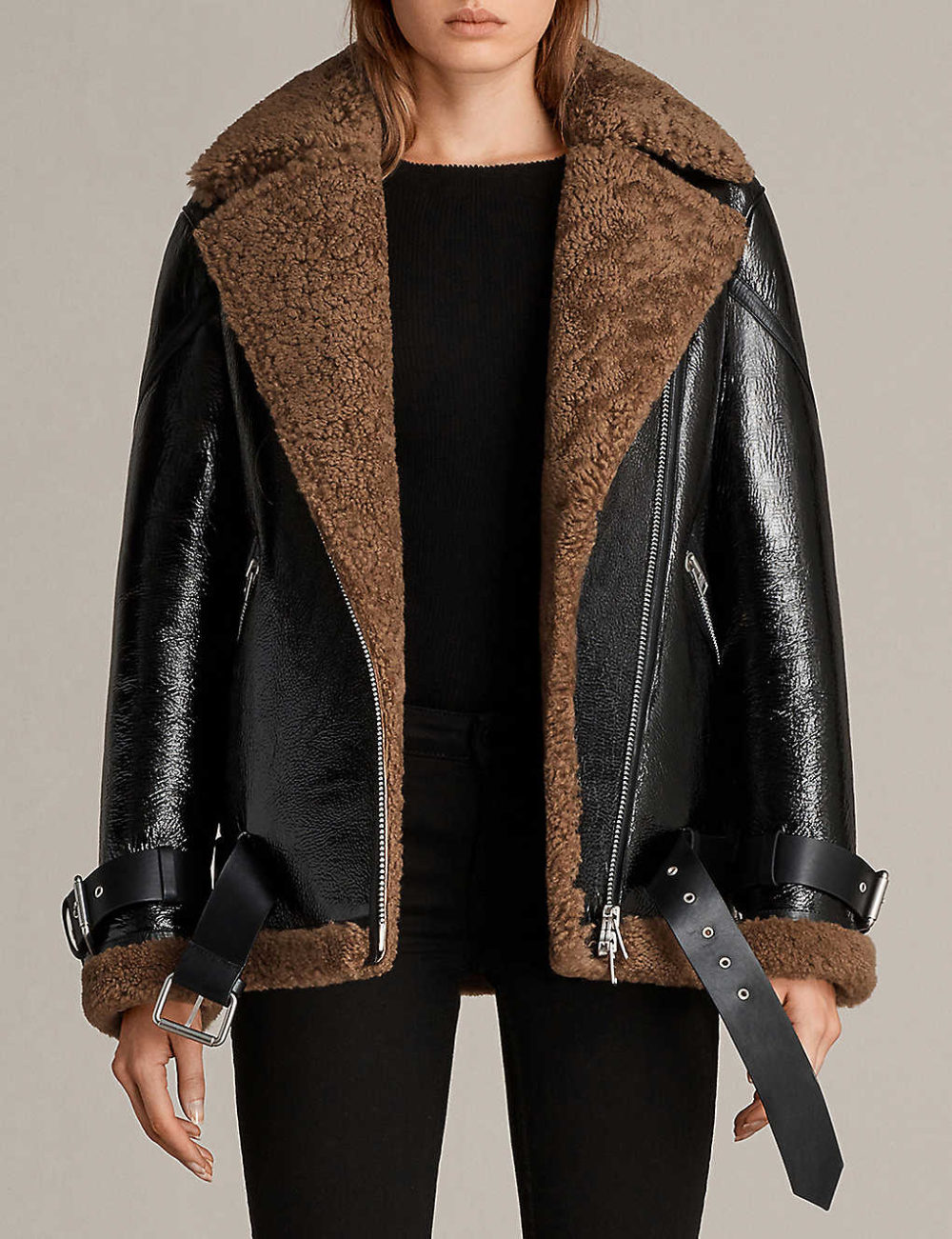 ALLSAINTS Hawley patentleather and shearling jacket