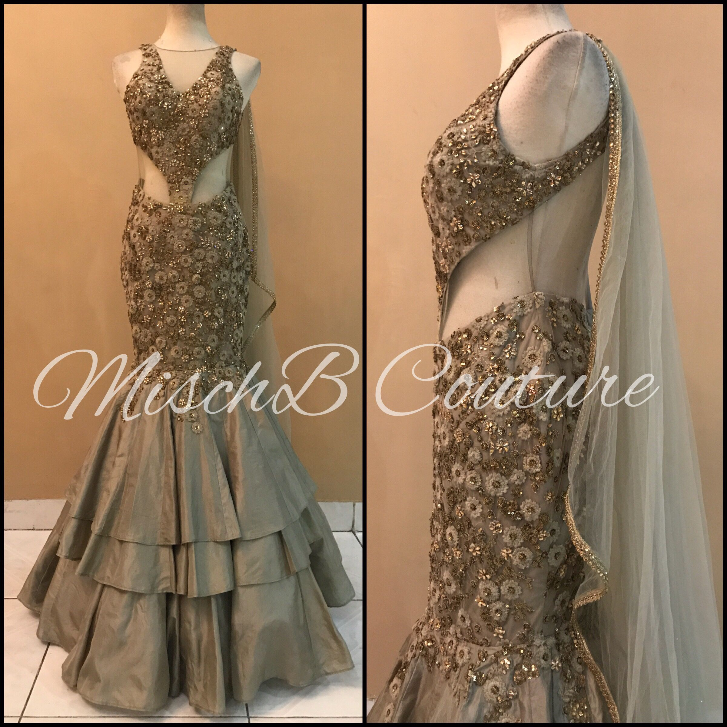 Neutral Layering Saree Gown By Mischb Couture Indian Bridal