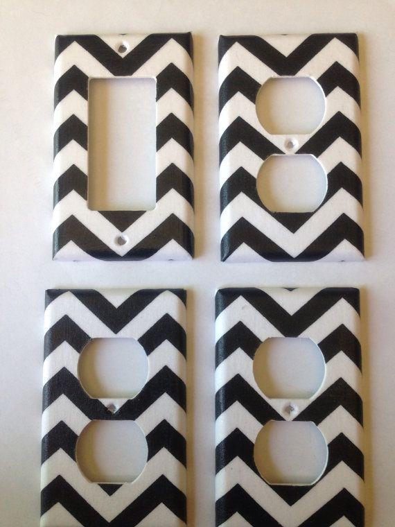 Black And White Chevron Striped Single By Couturelightplates 14 95 Bedroom Decor Bathroom Shabby Chic Room