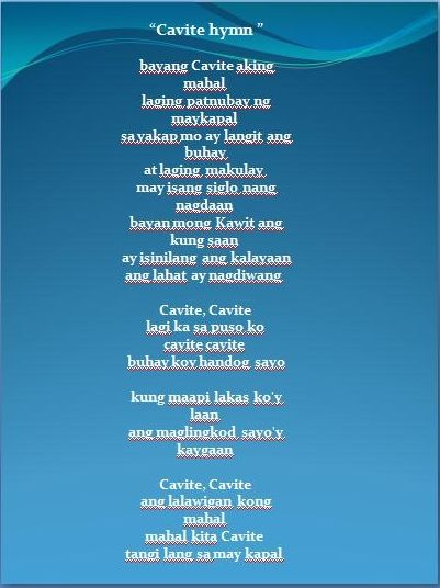 Cavite Hymn Have A Patriotic Words Which Are Dedicated To