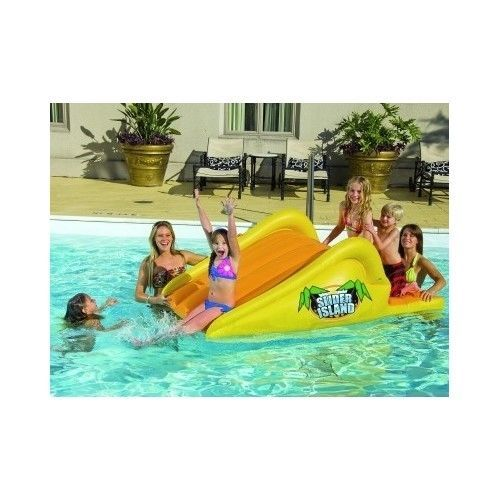 SWIMMING POOL WATER SLIDE Kids Inflatable Floating Toy Lake Outdoor Blowup Float