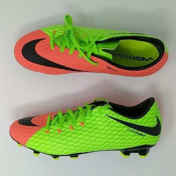6b15e6d140 Nike Hypervenom Phelon III FG Electric Green/Hyper Orange New 852556 308
