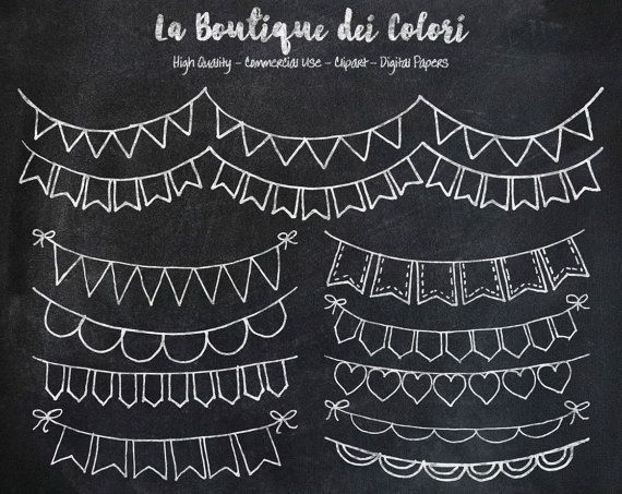 Tafel Bunting Banner doodle Digital ClipArt Cliparts. Party ClipArts zum Ausdrucken Download für den privaten und gewerblichen Einsatz. PNG #textiledesign