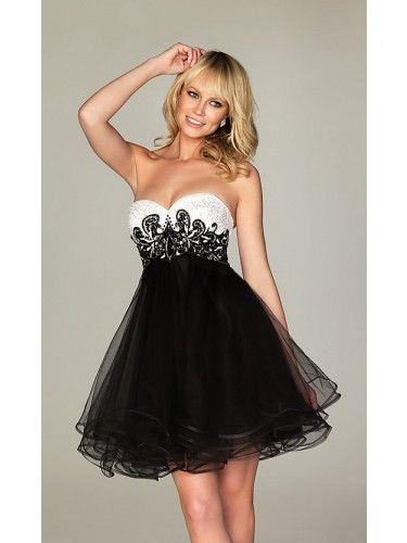 Short Strapless Black & White Party Dress A473 #shopsimple #prom ...