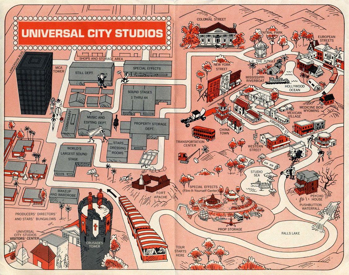 1968 Universal Studios Guide Map - universal city california ...
