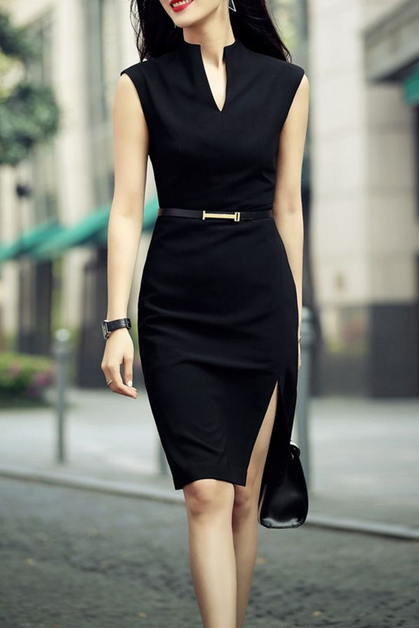 Casual Black Knee Length Dress