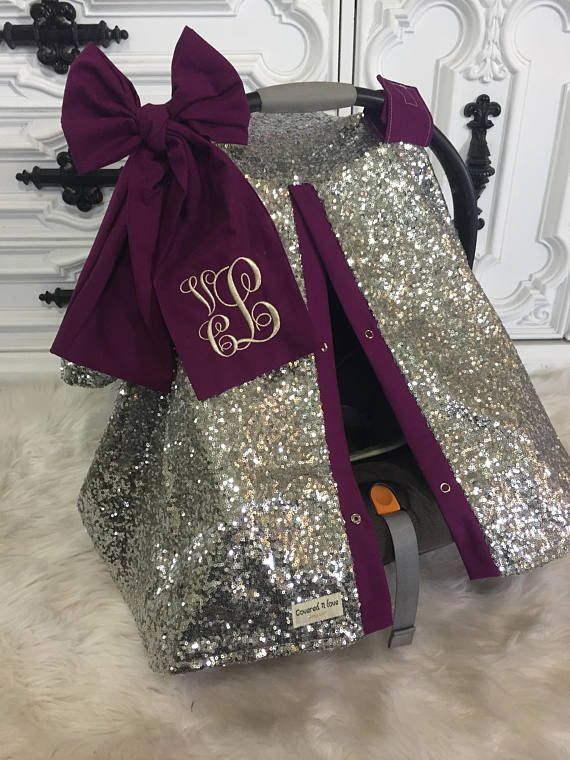 Silver Sparkle Car Seat Canopy With Bow And Name Carseat Etsy Baby Girl Car Baby Girl Car Seats Baby Girl Carseat Covers