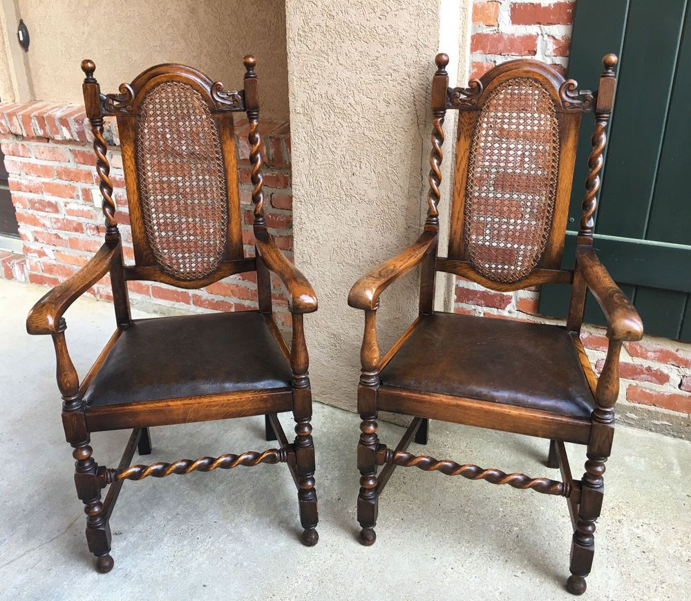 PAIR Set Antique English Tiger Oak BARLEY TWIST DINING Arm Chairs Leather  Cane | Antiques, - PAIR Set Antique English Tiger Oak BARLEY TWIST DINING Arm Chairs