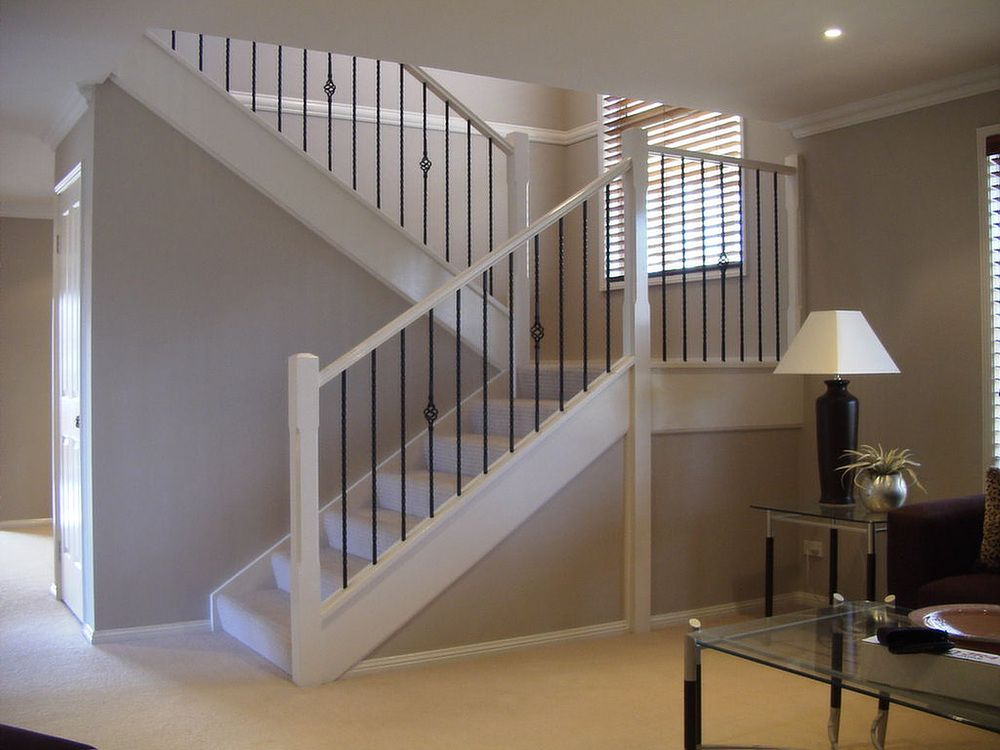 Basement Stairs Ideas: 2 White Spindles On Each Dark Wood Tread