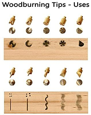 Premium Wood Burning Tips and Wood Burning Stencils - Includes (15) Pyrography Tool Tips, (12) Soldering Tips and (2) Plastic Stencils