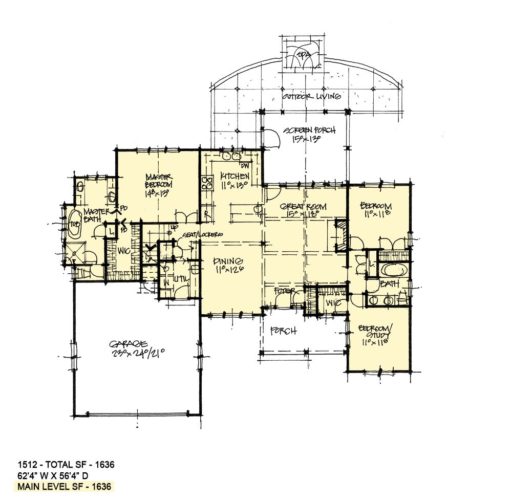House Plan 1512 Compact One Story House Plans Vintage House Plans Floor Plan Layout