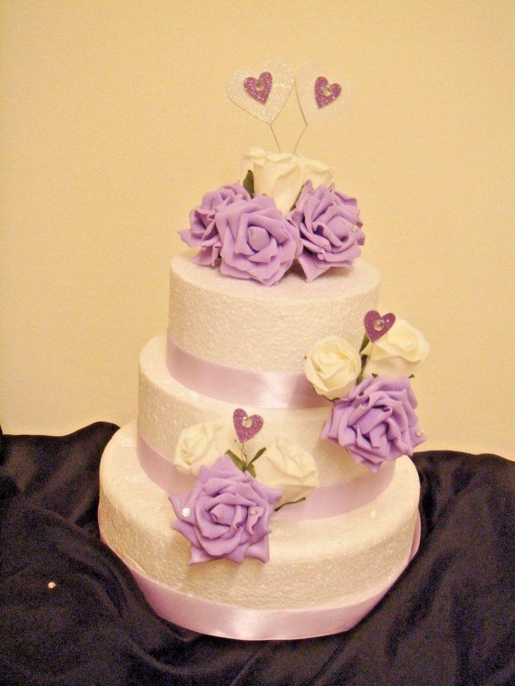 rose wedding cake topper diamante set lilac white rose glitter heart ...