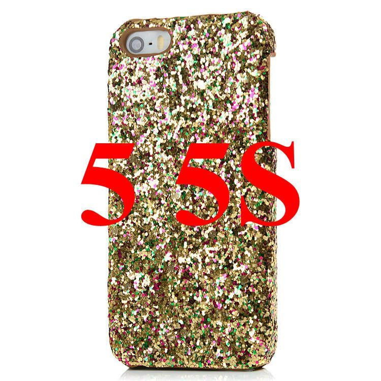 Fashion Bling Sparkle Glitter Powder PC Hard PC Skin Cover Case for For iPhone 5 5S SE 6 6S Plus Cell Phone Back Cases 5 Colors