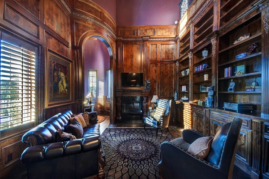 Old World Gothic Style Homes | Old World Gothic Interior Design Woodwork  With High Ceiling And