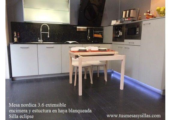 mesa en madera pequea para espacios reducidos extensible mediante pata desliante y cajn fondo de