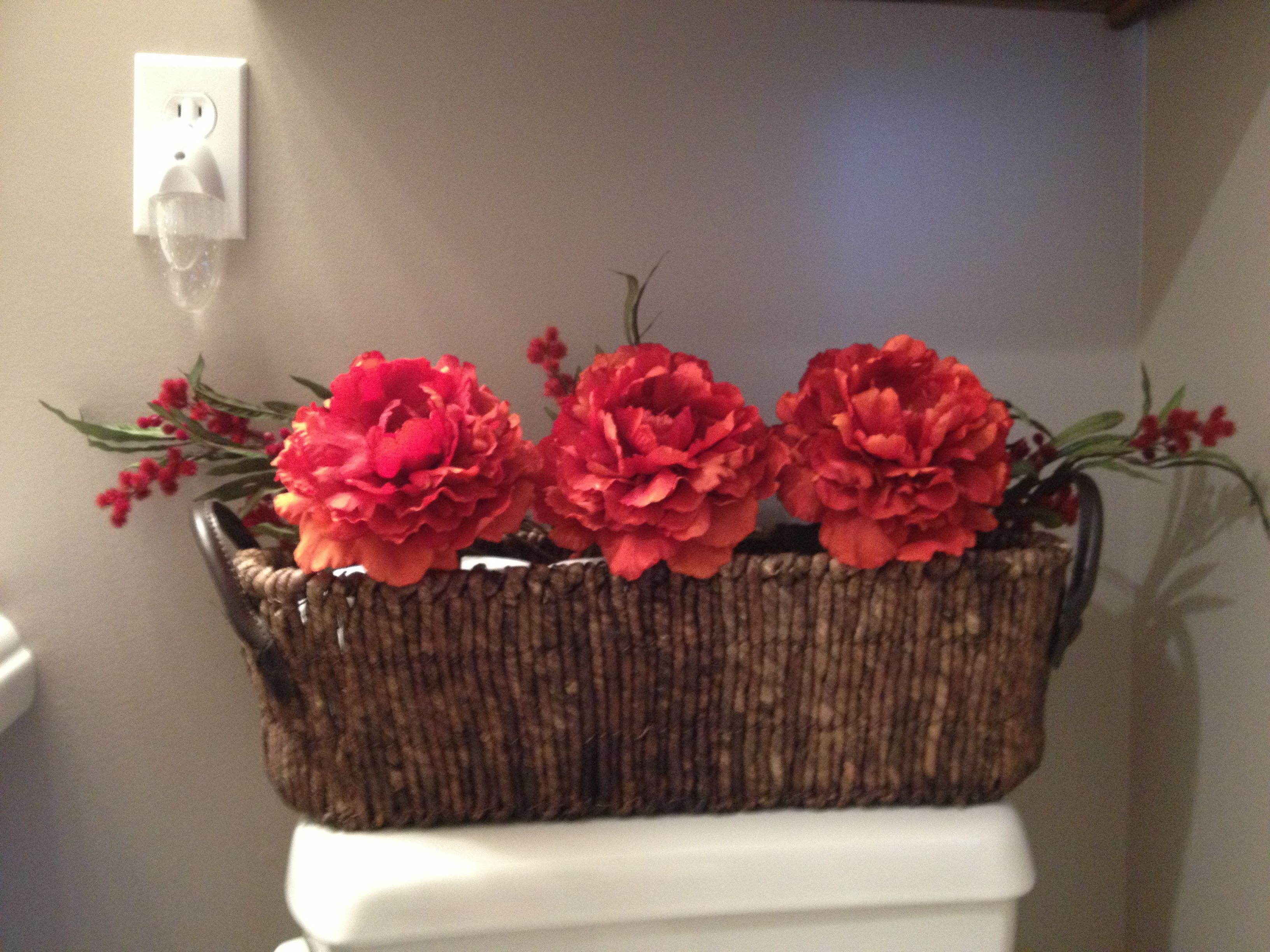 Small Bathroom Storage For Extra Toilet Paper. Stick A Flower In It!