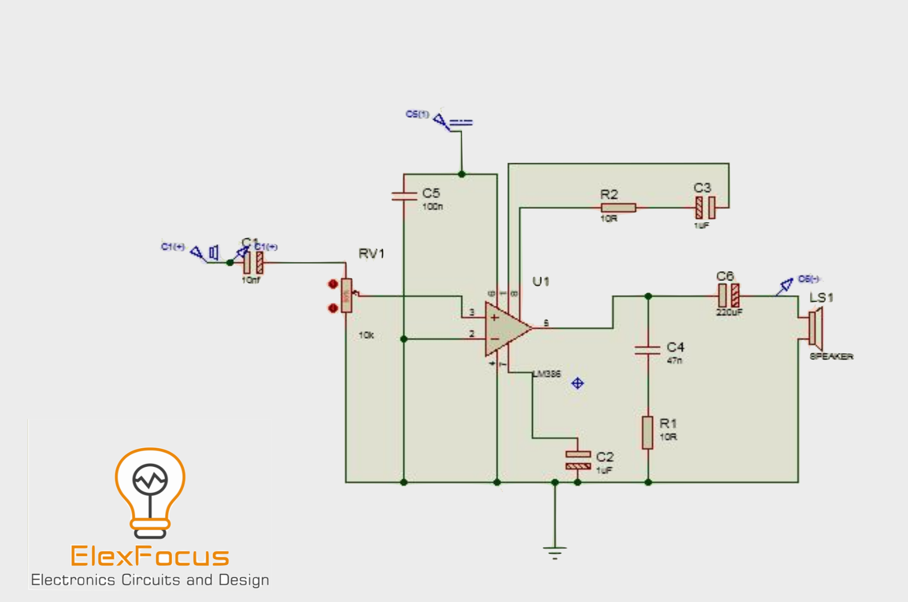 Lm386 Audio Amplifier Circuit With Proteus Simulation Basic Software Free For More Details And Complete Guide Go To The Website Audioamplifier
