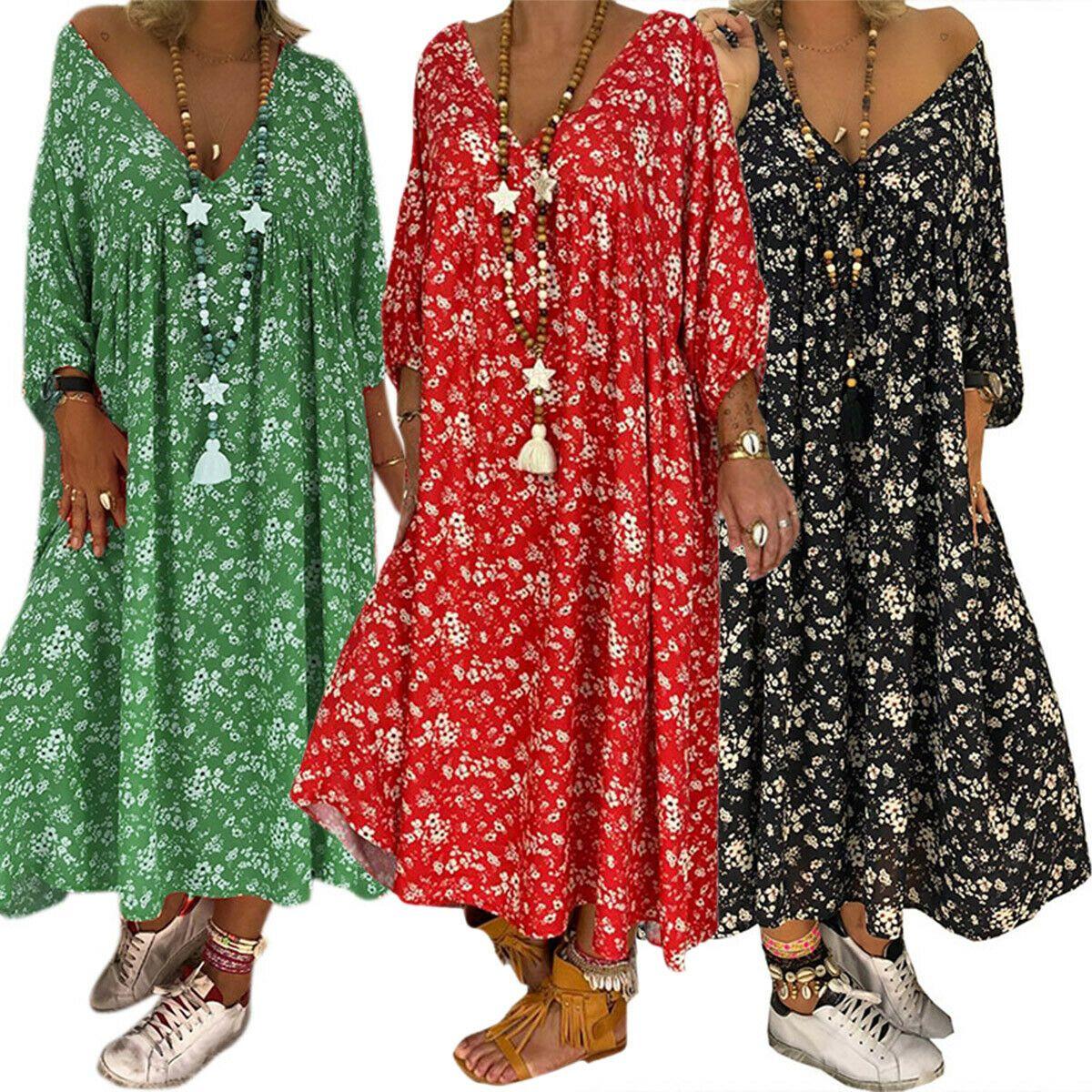 Übergröße Damen Boho Tunikakleid Kaftan Freizeitkleid Strand Retro Longtop Kleid