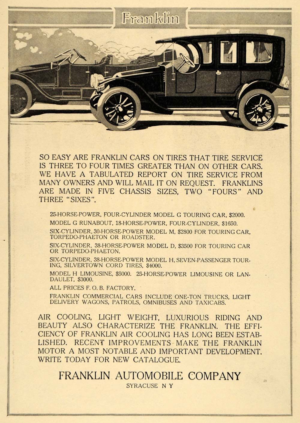 1911 Ad Franklin Automobiles Models G M D H Touring Car Vehicle ...