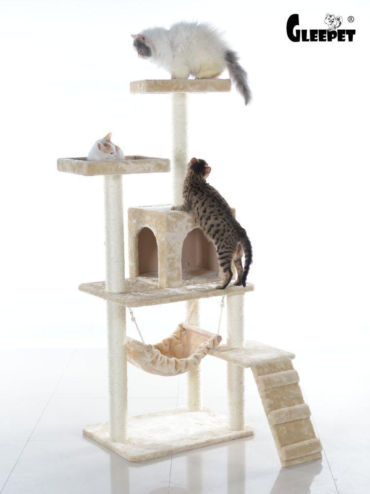 Cat Tree House 57 Inch Condo Furniture Scratching Post Tower Beige Kitten New Gleepet Cat Furniture Cat Tree Modern Cat Furniture