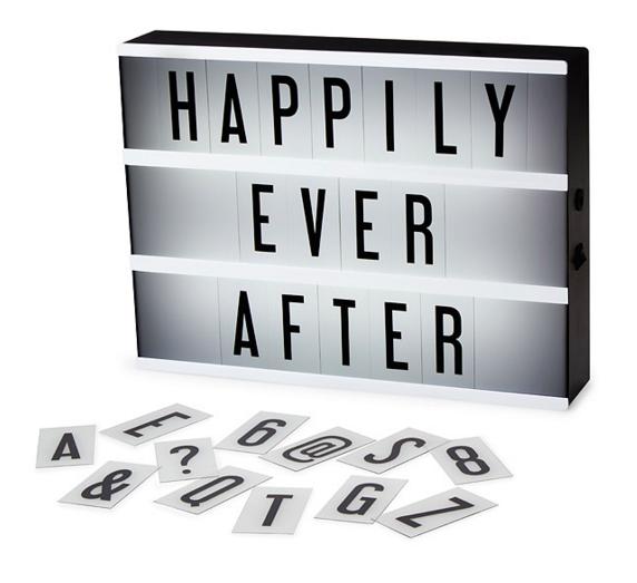 Cinematic Light Up Box DIY Message Display Plaque Customised Wedding Birthday
