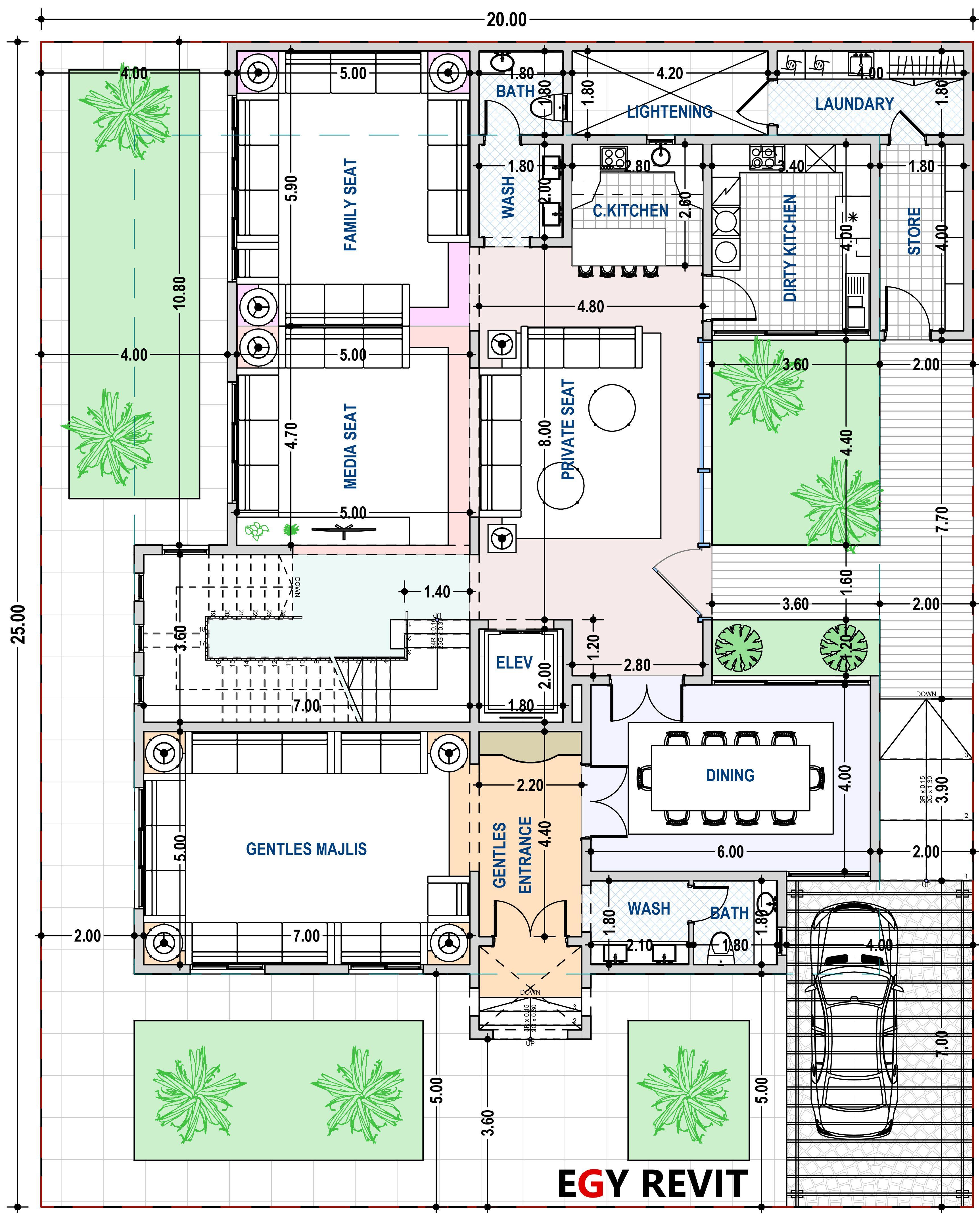 تصميم فيلا دور ارضي ٢٠ في ٢٥ على شارع واحد Free House Plans My House Plans Modern House Plans